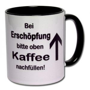 Bei Erschöpfung bitte oben Kaffee nachfüllen!