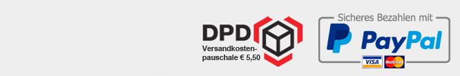Wir versenden mit DPD und DHL - Als Zahlungsmöglichkeiten bieten wir Vorkasse und Paypal.