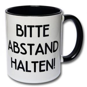 Bitte Abstand halten Tasse